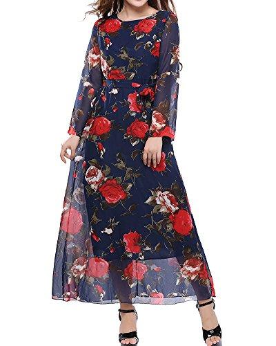 Moollyfox Femme Maxi Robe Longue Floral Imprimé Robe de Cocktail Manches Longue Grande Taille de Robe Marine