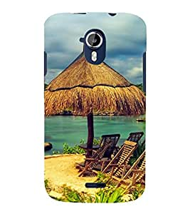 two reclining chairs on a beach 3D Hard Polycarbonate Designer Back Case Cover for Micromax Canvas Magnus A117