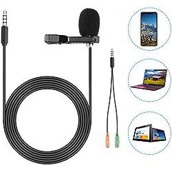 Neewer Lavalier Micrófono de Solapa para iPhone, Android, Cámara Réflex Digital y PC - Micrófono Lavalier para Captura de Sonido Ultra Nítida con Adaptador Móvil y Protector de Viento 200Cm