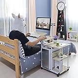 KOMOREBI Computertisch Laptoptisch Arbeitstisch Frühstückstisch Betttisch Höhenverstellbar Mit Rollen, Arbeitstisch PC-Tisch mit Tastaturauszug, Höhe von 27,6