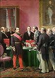 "Alu-Dibond-Bild 80 x 110 cm: ""Napoleon III (1808-73) Hands Over The Decree allowing the Annexation of the Suburban Communes of Paris to Baron Georges Haussmann (1809-91) in June 1859 (oil on canvas)"", Bild auf Alu-Dibond"