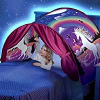 Temper_girl Unicorn Folding Tent with LED Lights Fantasy Tent Cute Outdoor Camping Tent