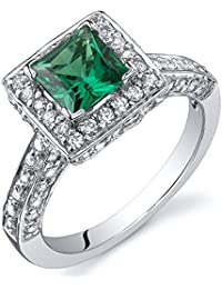 Revoni Princess Cut 0.75 Carats Emerald Engagement Ring in Sterling Silver Rhodium Finish