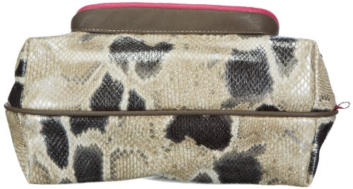 Poodlebags Funkyline - Exotic Remix - French Peanut - snake 3FL0313FRENP, Damen Schultertaschen 25x19x12 cm (B x H x T) Mehrfarbig (pink snake)