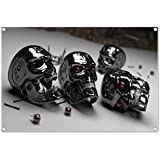Terminator heads design on PVC-Tarpaulin including eyelets in the format: 60x40 cm. High-quality art print realized as wall picture
