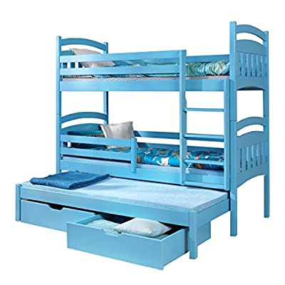 Ye Perfect Choice Triple BUNK BED Jacob 3 Modern High Bed DRAWERS Ladder 3 Children Pine Wood 2 sizes