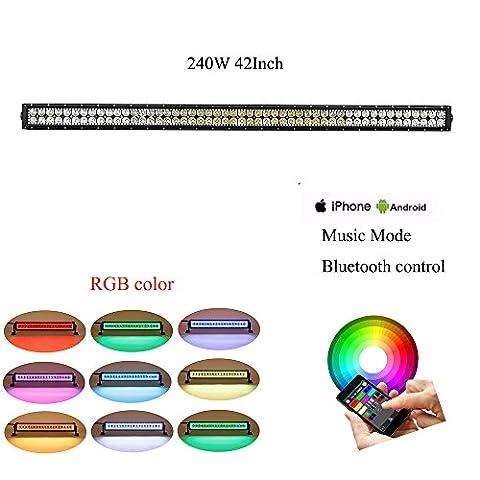 colorbarz® droite 106,7cm 240W RGB Câblage Halo LED lumière Bar avec application Bluetooth et télécommande pour Rock Kit LED Off Road lumineux Bluetooth pour voiture/camion extérieur 4Wheeler LED imperméable