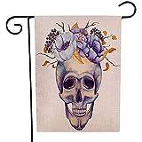 Overlooked Shop Cranio Umano dell'acquerello all'aperto della Bandiera del Giardino con i Fiori in Violet Colors Decorative Yard Flag