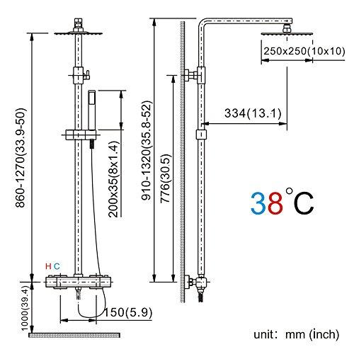 Homelody – Thermostat-Duschsystem mit Brausegarnitur, Regenbrause, eckig, Chrom - 3