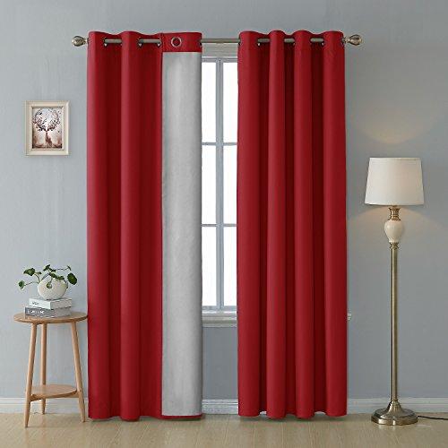Deconovo tende termiche isolanti con occhielli tende decorative 100% poliestere 135x240 cm rosso