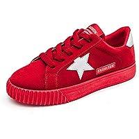 Vinstoken Zapatillas de Deportivo Mujer Plataforma Cordones Low-Top Sneakers Star Zapatos de Tela Negro