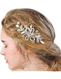 Novia plata hecho a mano pelo Clips Crystal rhinestone perlas flores boda accesorios para el pelo