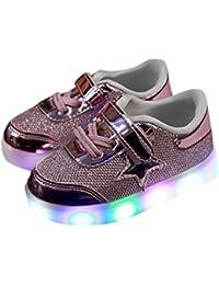 Tefamore Estrellas B-1 (JM) Niño emisores de luces LED zapatos casuales zapatos de piel brillante niños y niñas de calzado deportivo de moda