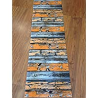 Tappeto cucina a metraggio PVC largo 55 cm arancione grigio legno invecchiato