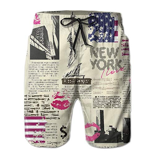 MIOMIOK Mens Beach Shorts Swim Trunks,Newspaper York with Sketchy Statue of Liberty and Texts Lipstick Vintage,Summer Cool Quick Dry Board Shorts Bathing SuitL - Liberty Vintage Shorts