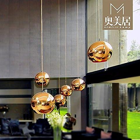 Moderna lampada pendente Rame placcato oro-colorato bulbo di vetro lampadari
