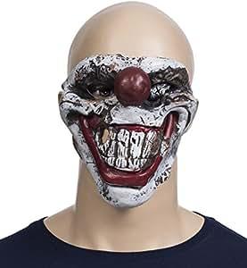 """VENKON - Testa maschera raccapricciante """"Horror Clown"""" in lattice flessibile con capelli sintetici - taglia unica adulto - colore: multicolore"""