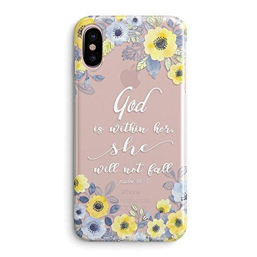 Kompatibel mit iPhone X Fall , Christian ist innerhalb Sie Gott sie Fallen Nicht Psalm Bibel Verse Mädchen Zitate inspirierende Motivational Blumen Rosen Soft Clear Case Ersatz für iPhone X
