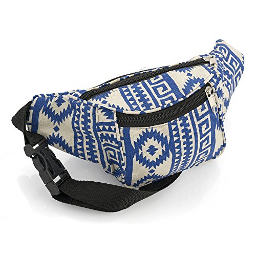 Blue and Beige Abstract Design Bum Bag