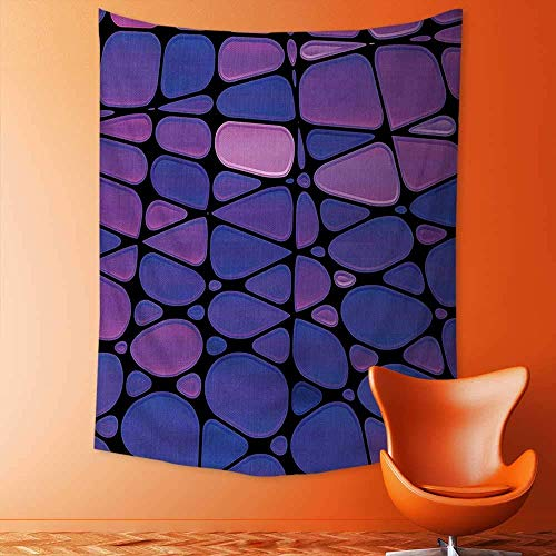 daawqee Wall Hanging Tapestries Wall Art Tapestries Wall Tapestries Stained Glass Design with Graphic Drops Mosaic Vibrant Pattern Purple Pink Black Tapestry Dorm 150x230 cm Unique Home Decor
