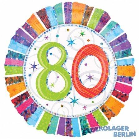 amscan 16074 01 - Globo de plástico con diseño de 80 cumpleaños