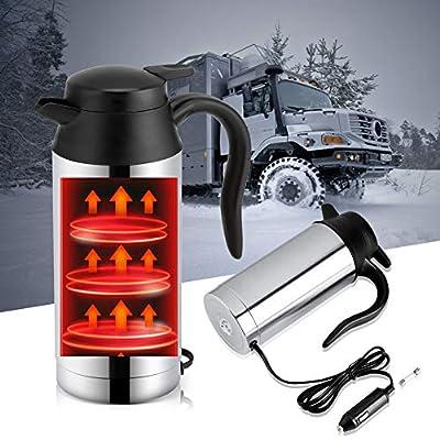 Bouilloire Électrique, 12v voiture de voyage chauffe-biberon pot de camping camion camion allume-cigare chauffe bouilloire électrique tasse thermos, 750ml en acier inoxydable tasse à boire