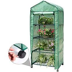 Finether 4 Etages Mini Serre de Jardin 69 x 49 x158CM PE Serres en Plastique Couverture Résistant aux Intempéries Greenhouse Légume Fruit Plante
