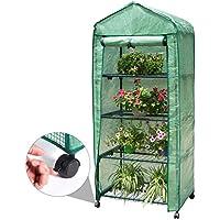 Finether-Invernadero Portátil de 4 Estantes con Ruedas y Tapa Transparente, Ideal para Jardín