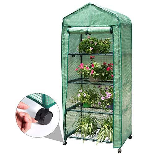 Finether-Invernadero Portátil de 4 Estantes con Ruedas y Tapa Transparente, Ideal para...