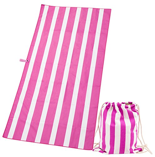 Exerz asciugamano & borsa chiusura a cordoncino/ teli mare – telo spiaggia strisce asciugamano viaggio / sport extra large 160 x 80 cm set 2 pz. – palestra – campeggio – nuoto – yoga – vacanza – bagno - fucsia