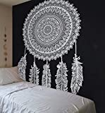 Arazzo in cotone indiano con motivo mandala in bianco e nero, ottimo regalo di Natale, 220x 230 cm, Cotone, Black, 220*240 cms