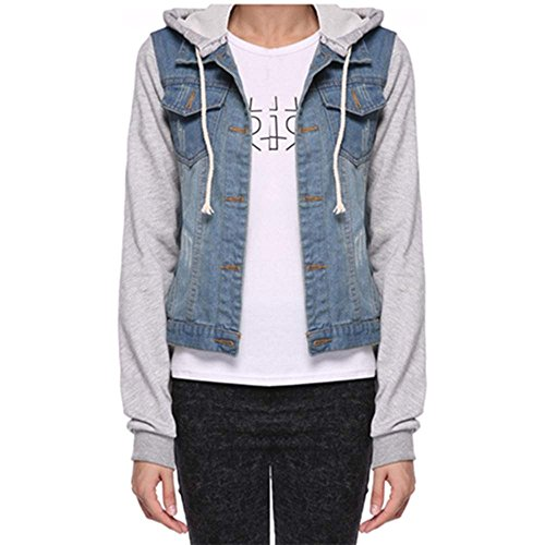 cooshional cooshional Damen Jacken Frühling Jeans-Jacke Mit Kapuze Blouson Knopfverschluss Denim Jacken