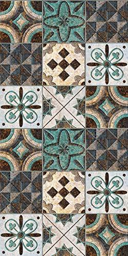 Arredo carpet passatoia tappeto digitale in vinile con fantasia azulejo blu facilmente pulibile.