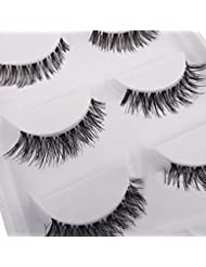 5 Pairs Soft Long Black Cross False Eyelashes Makeup Eye Lash Extension