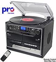 BT-SMC386c Compact - PRO Version (Pro Turntable Deck) 8 in 1 Music System + Remote Control - Bluetooth* �?? 3 Speed Record Player �?? CD Player �?? FM & MW Radio �?? Playback & Encode RECORDING to USB Stick / SD Memory Card - TWIN Cassette Player & RECORD