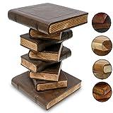 Bücherhocker Nachttisch Beistelltisch Hocker Buch Stapel Podest Deko 51 cm Holz Dunkelbraun Creme