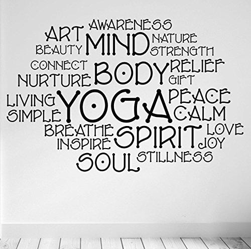 Preisvergleich Produktbild Yoga Montage. Yoga und Meditation Inspirierende Qualität Vinyl Matt Wand Aufkleber. 5Farbe und 2Größe Choices., schwarz - schwarz, 57cm wide x 39cm high