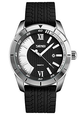 Herren Jugendliche Silber Großes Gesicht Wasserdicht Uhren Männer Datum Kalender Designer Armbanduhr Männlich Mode Casual Analog Quartz Uhr mit Schwarz Silikon Strap