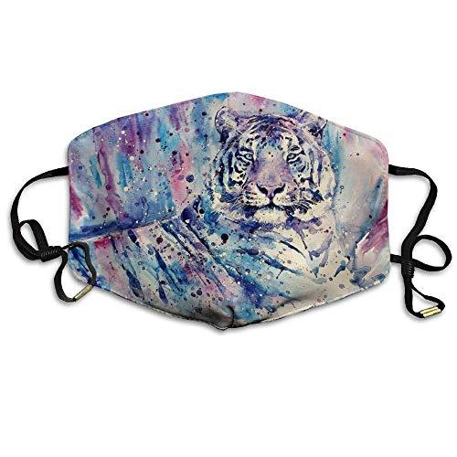 Daawqee Staubschutzmasken, Purple Tiger Mask Unisex Fashion Antidust Face Mouth Mask Muffle Flu Surgical Washable Warm Reusable Ski Cycling Mask