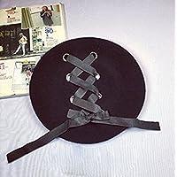 lianji Señoras invierno bowknot fieltro sombrero de boina de lana Art Artist Hat Sombrero Fedora (Negro)