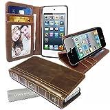 Stylebitz / Étui vintage, classique, rétro, en cuir PU avec pied de support pour Apple iPhone 5s / 5 avec chiffon de nettoyage Stylebitz (marron)
