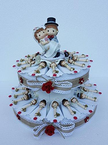 Torta bomboniere chiave con ciuffo sposi completa di bigliettino matrimonio segnaposti (35 fette ( 2 piani))