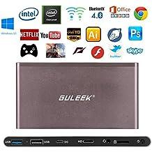 Guleek GPC Pro bolsillo Wintel Mini PC de escritorio del ordenador TV Box Windows 10 1080p Media Player con la caja del metal Intel Atom Z8300 de cuatro núcleos de la CPU DDR3 de 2 GB 32 GB eMMC 2.4 y 5.8GHz Wifi Bluetooth 4.0 USB3.0