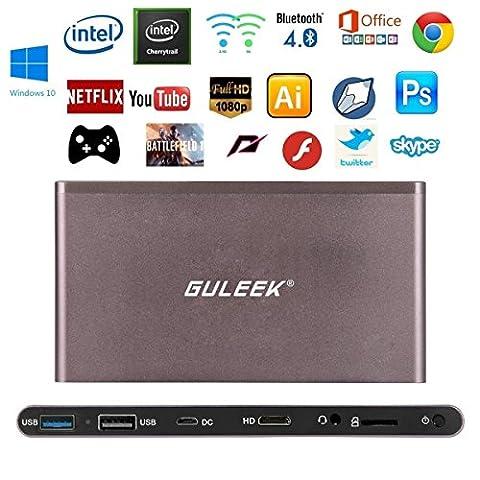 Guleek GPC Pocket Wintel Mini PC Desktop PC Windows10 1080p HD Player mit Metallgehäuse Intel (Desktop Box)