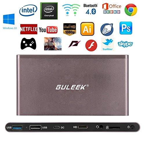 Guleek GPC Wintel Mini PC Desktop Computer Tv Box Windows 10 Pocket  Computer 1080P HD Player with Intel Atom Cherry trail Z8300 Processor 2gb  DDR3L