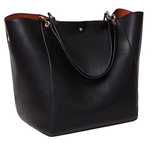 Tibes Moda spalla sacchetto impermeabile borsa del cuoio genuino Nero