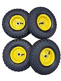 4 x Frosal Luftrad Bollerwagen Ø 260 mm 4.10/3.50-4 | Ersatzrad Reifen Sackkarre | Achse 16 mm | Rad mit Kugellager | Stahlfelge gelb | Sackkarrenrad