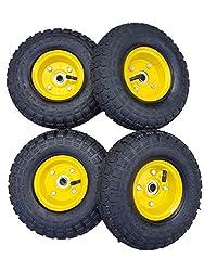 4 x Frosal Luftrad Bollerwagen Ø 260 mm 4.10/3.50-4   Ersatzrad Reifen Sackkarre   Achse 16 mm   Rad mit Kugellager   Stahlfelge gelb   Sackkarrenrad