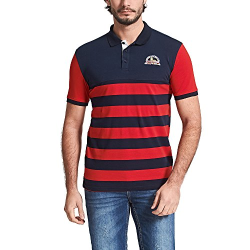 Fredd Marshall Men's Short Sleeve Cotton Striped Embroidered Classic Polo Shirts Golf Tops