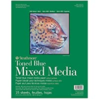 Strathmore 400 Series Toned Mixed Media Pad, 184lb Paper, 11 x 14 inches, Steel Blue, 15 sheets (462-411)